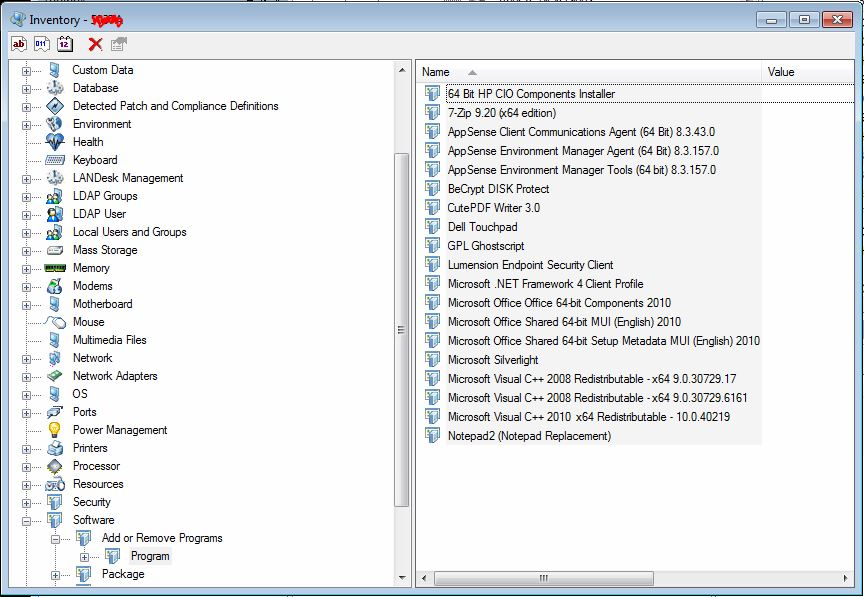 LANDesk 9.5 SP1 Inventory Scan Missing 32-bit Applications from Add or Remove Programs Inventory