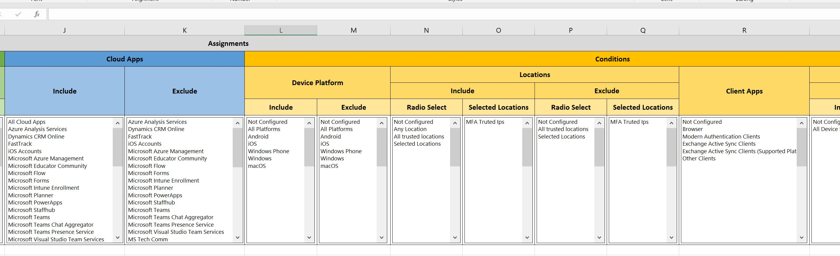 Intune Conditional Access Policy Documentation Template
