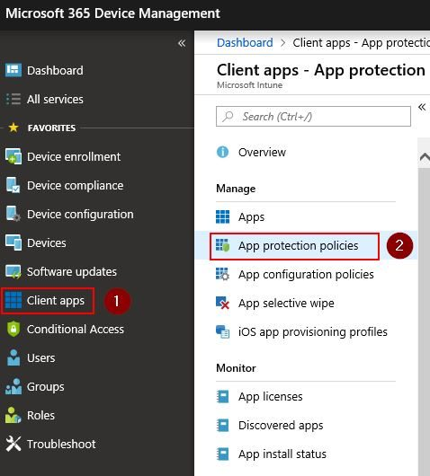 Create an Intune App Protection Policy to force an app